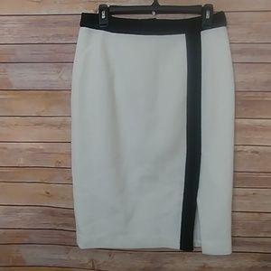 Nanette Lepore White with Black trim Pencil Skirt